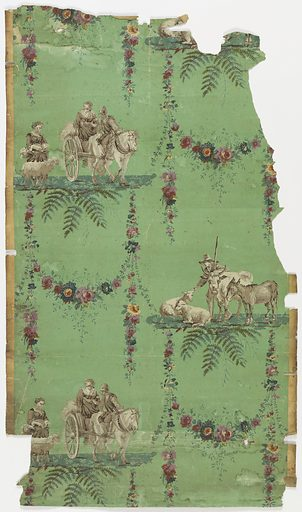 Arabesque design with floral swags and two alternating pastoral scenes. One, horse drawn wagon followed by woman and sheep. Two, shepherd with sheep and bull. Figures printed in grisaille, swags in polychrome, all on green ground. Made in: France. Date: 1780s. Record ID: chndm_1998-75-101.