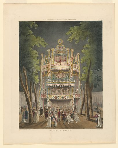 Vertical rectangle. Large facade, with lights strung over it, and an orchestra playing in it, center. People walk and dance about before it, at night. Title, artists' and publisher's names below. Print makers: John Bluck, British, 1791–1832; Thomas Rowlandson, British, 1756–1827; Augustus Charles Pugin, French, active Great Britain, ca. 1762–1832. Made in: Europe. Date: 1800s. Record ID: chndm_1961-105-297.