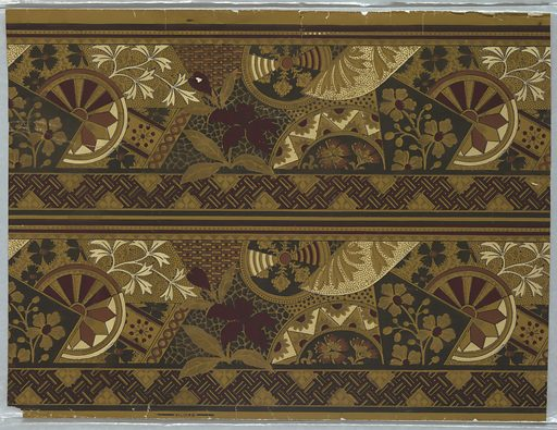 Aesthetic or Anglo-Japanesque-style border; stylized floral motifs and geometric shapes. Printed in burgundy, black and white on ocher ground. Band of parquet or basket-weave design across bottom edge and beading across top edge. Printed two across. Made in: USA. Date: 1880s. Record ID: chndm_1984-128-1.