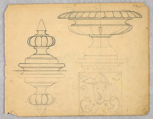One of fourteen pages in a sketchbook. Made in: USA. Date: 1860s. Record ID: chndm_1984-125-108-3.