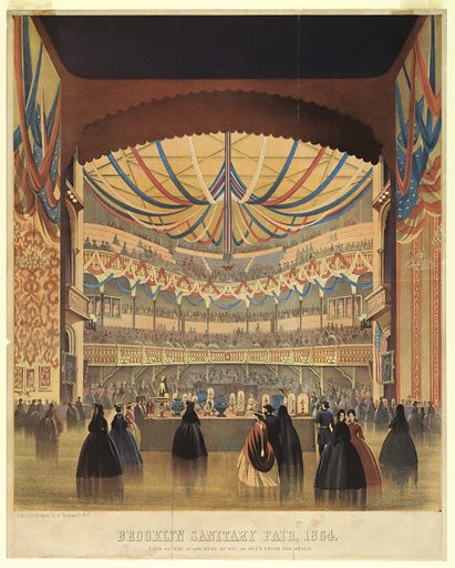 """Vertical rectangle. View from the stage showing the display. Spectators stand in the foreground. Below: """"Brooklyn Sanitary Fair, 1864 / View of the Academy of Music as seen from the Stage."""". Made in: USA. Date: 1860s. Record ID: chndm_1961-105-151."""