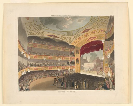 Horizontal rectangle. Theater, with audience standing in the pit; seated in boxes and parquet. Clowns on stage, and a large teapot between houses. Title and artists' names below, publisher's name above. Print makers: John Bluck, British, 1791–1832; Thomas Rowlandson, British, 1756–1827; Augustus Charles Pugin, French, active Great Britain, ca. 1762–1832. Made in: Europe. Date: 1800s. Record ID: chndm_1961-105-275.