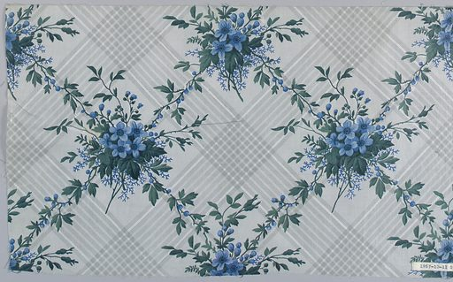 """Seven pieces, same design, different colors. A) Ground printed by """"molette"""" in diamond-shaped design of stripes composed of minute dots in pale blue. Flower clusters in rose and dull greens, printed over background. B) Grey ground and flowers, strong green leaves. C) Grey ground, flowers old rose with green foliage. D) Grey ground, blue flowers, grey foliage. E) grey ground, grey flowers, blue-green foliage. F) lighter grey ground, flowers with strong green foliage. G) Greey ground, blue flowers, green foliage. Date: 1850s. Record ID: chndm_1967-10-11-g."""
