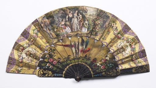 Pleated fan with double leaf. Obverse: hand-colored lithograph on paper showing central cartouche of noble woman with five female attendants. Two small side cartouches with putti, festoons of flowers and birds. Reverse: raised paper painted with flowers on blue background. Black painted wood sticks with painted flowers and bird. Horn washer at rivet. Made in: Europe. Date: 1850s. Record ID: chndm_1985-77-4.