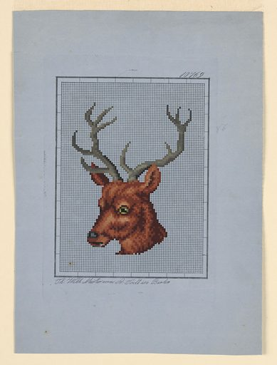 A stag's head, facing half-left. Made in: Germany. Date: 1840s. Record ID: chndm_1960-59-2.