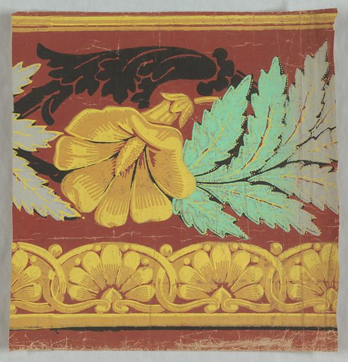 Yellow flower beneath black acanthus foliage, alternating with branch of leaves which change from green to gray. Band of anthemia-like motifs run along bottom edge. Printed on deep red ground. Made in: France. Date: 1820s. Record ID: chndm_1988-105-4.