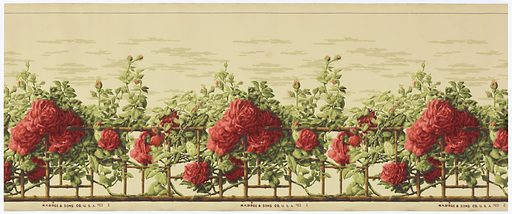 A bamboo trellis is covered with climbing rose vines with numerous large red roses and buds. Above the trellis is a clouded sky. Printed in red, green and brown on beige ground. Made in: Buffalo, New York, USA. Date: 1910s. Record ID: chndm_2005-27-8.