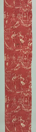 Scenic pattern in red – piece A from the left third and piece B from the right third. The pattern arranged in two alternating repeating bands divided by swags and floral garlands. The scenic bands depict dancing in the center areas with spectators in theatre boxes at left and right of fabric completed when fabric lengths places side by side. Date: 1800s. Record ID: chndm_1973-25-13-b.