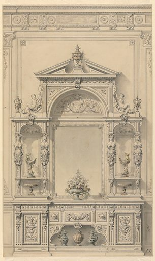 """Wall elevation for entrance hall in renaissance-revival style (although it is called """"genre Boulle"""" in published drawing, see bibliography). Lower portion consists of console decorated with panels with carved urns, masks and a garland. Two metal (?) ewers flank a metal (?) covered vase on lower opening. Central portion dominated by a large mirror with floral arrangement below, niches on either side decorated with caryatids on pilasters, cups in the mannerist style and tazzas below. Upper portion consists of open pediment with covered cup and a demi-lune carving with cartouche and date (1873), flanked by volute-figures reclining on garlands of fruit, a covered cup on base at each end. Cast shadows throughout. Made in: France. Date: 1870s. Record ID: chndm_1987-86-2."""