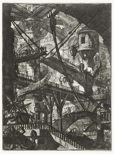 Vertical rectangle. Wooden bridges connect piers and arcades in the distance. Spiral staircases on piers connect several bridges. Made in: Italy. Date: 1800s. Record ID: chndm_1959-182-6.