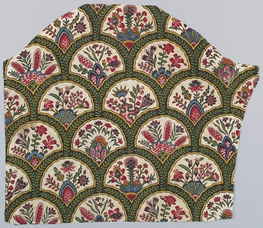 Small-scale design of overlapping rounded arches, each containing flowers growing from mounds. Each arch is composed of a green vine on a brown ground. Printed in black, purple, blue, green, yellow, and several shades of red and pink on an off-white ground. Overlapping arched forms contain a variety of plants growing from mounds. The framing device is brown with yellow edges and a green vine within. Made in: Jouy, France. Date: 1800s. Record ID: chndm_1973-51-146.