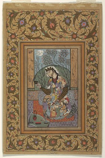 A central figure is seated on layers of geometric and vegetal carpets, wearing a short-sleeved robe composed of many male figures and animals that are constrained to the frame of the garment. A garment like a coronet draped with a white cloth is worn upon the head. The figure is holding in the right hand a small vessel with a bird perched upon the rim. Laid upon a small carpet at the feet of the figure is a bowl of fruit, two small vessels, and a tall, handled ewer with elongated spout. In the background (possibly viewed through a window?) is a large green mound framed by two trees in bloom, with clouds rendered to appear fast-moving. Date: 1800s. Record ID: chndm_1962-225-7.