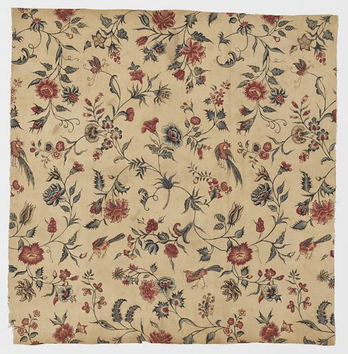 Scattered floral sprigs and birds. Indian adaptation of European pattern. As design is hand drawn repeat is irregular. Made in: India. Date: 1700s. Record ID: chndm_1973-51-21.
