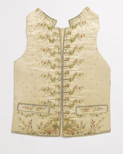 Gentleman's waistcoat with embroidered design of grape harvesting and wine casks. Made in: France. Date: 1780s. Record ID: chndm_1962-54-48.