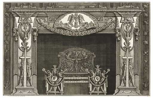 The image depicts a chimneypiece with four young men decorating the andirons. These men have lion paws for legs, holding garlands in one hand and a coin in the other. Behind them, a symmetrical image of a plant formation with satyrs, birds, and laurel, among other symbols. The jambs are identical and are composed of Egyptian figures in profile flanking a cross with hieroglyphs topped with a seated sphinx with its wings around a medallion depicting military symbols. The mantel depicts a cartouche with winged deities holding a vase, all bordered by vines, above a garland made up of faces. Made in: Italy. Date: 1760s. Record ID: chndm_1967-85-24-56.