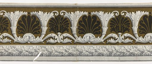 Repeating motif of stylized acanthus scrolls taking shape of cornucopia. Each pair of acanthus contains a palmette of anthemia motif. A band of foliate rope runs along bottom edge. Printed in grisaille and black with green flock. Made in: France. Date: 1810s. Record ID: chndm_1972-42-42.