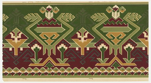 Geometric pattern with an American Indian stylization. Design is overprinted with dots and dashes of black. Top 2/3 of background is deep green while bottom 1/3 is deep red. Printed in green, deep red, yellow ocher, and black on an off-white ground. Made in: New York, USA. Date: 1910s. Record ID: chndm_1972-50-2.