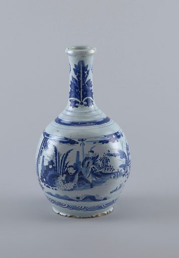 Gourd-shaped vase with a slender, incurved neck and molded lip. Decorated with chinoiserie figures in a landscape bordered above and below with geometric figures. Neck with acanthus leaves and rosettes. Made in: Nevers, France. Date: 1680s. Record ID: chndm_1906-23-22.