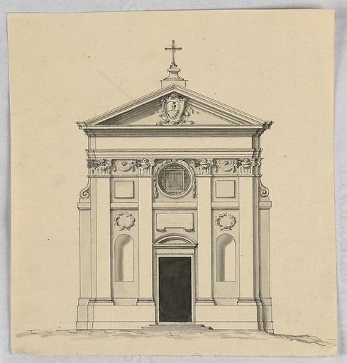 Central bay: door with a circular pediment under a tablet. Bull's eye on top. Four pilasters support the entablature; triangular pediment with a coat of arms inside; a cross on top. Between the pilasters are niches under wreaths. The receding wall panels at the corners have volutes on top. Made in: Rome, Italy. Date: 1770s. Record ID: chndm_1938-88-1070.