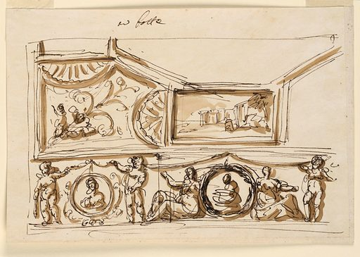 Design for Ceiling Decoration. Made in: Rome, Italy. Date: 1800s. Record ID: chndm_1938-88-1577.