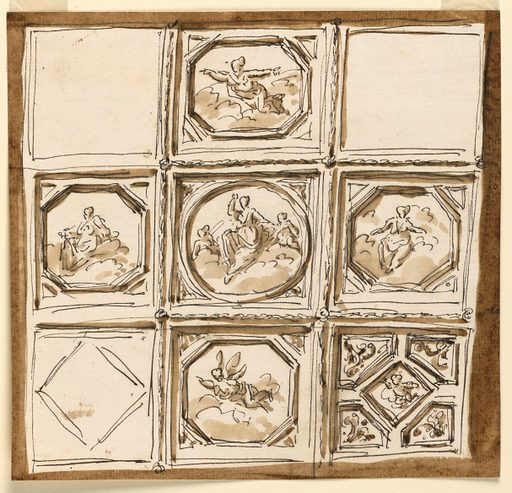 Design for Ceiling Decoration. Made in: Rome, Italy. Date: 1800s. Record ID: chndm_1938-88-1586.