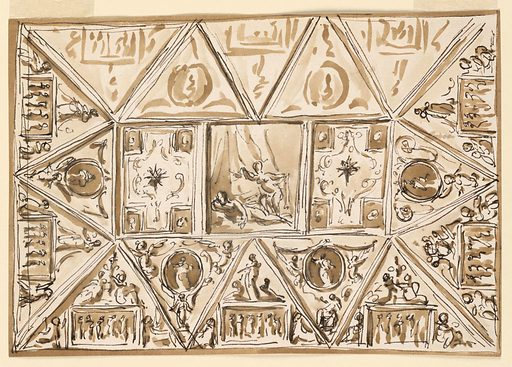 Design for Bedroom Ceiling Decoration. Made in: Rome, Italy. Date: 1800s. Record ID: chndm_1938-88-1589.