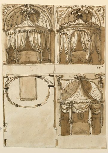 Upper row: at left, a variation of -1641, below, at right. At right: another variation, with an onion roof, supported by two columns, the supports being connected by two scrolls, forming an arch. Lower row: at left a part of the bedroom with the oval alcove. At right: a variation of -1641, the niche being not higher than the beginning of the framing feathers. Festoons are hanging above it. Made in: Rome, Italy. Date: 1780s. Record ID: chndm_1938-88-1642.