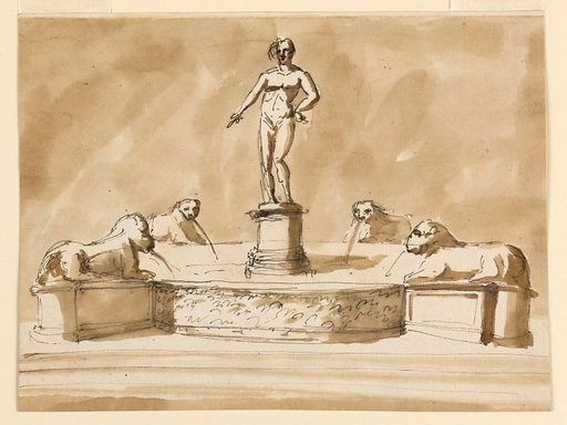 Four lions upon pedestals. From their mouths pours water into the round basin. In its center stands the figure of a nude man, upon a round pedestal. The basin stands upon a platform, to which steps lead at the front. Usual background. Made in: Rome, Italy. Date: 1800s. Record ID: chndm_1938-88-1771.