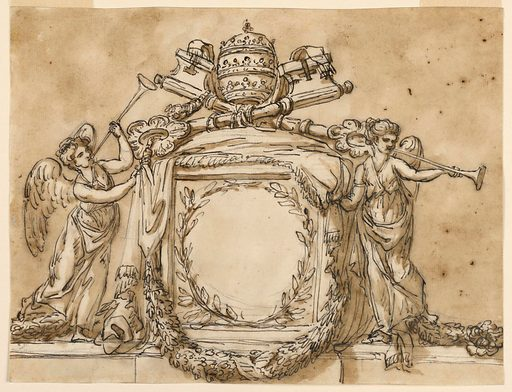 Below is a base like an entablature. Upon it, in the center, is a pedestal covered by a cloth which has been raised from the front by two winged female genii blowing trumpets. In the front is a wreath of two branches. Upon the pedestal are the keys and the tiara. Below is a garland. Usual background. Made in: Rome, Italy. Date: 1780s. Record ID: chndm_1938-88-1822.
