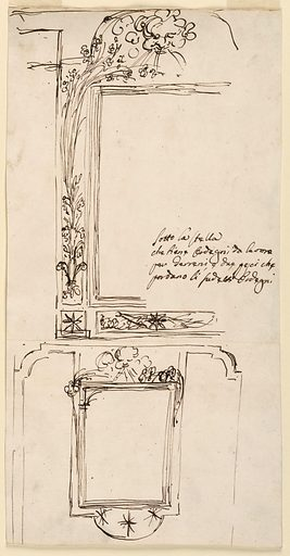 """Above is the left part of the elevations. A part of the outer frame is curved on top. There is the bend; laterally are branches springing from a fleur-de-lys. In the lower left corner is a separate panel with a star. An oblong panel is below the inner oblong; it is decorated with a star in front of a festoon and two fishes. Caption; inside: """"Sotto la stella/ che tiene ordegui da lavoro/ per I[t]erreri e due pesci che/ portano li gredetti ordegui"""". Below is the elevation, with alternative suggestions with cornucopias, standing laterally at left, lying around the corner at right. Below is the field with three stars. Made in: Rome, Italy. Date: 1780s. Record ID: chndm_1938-88-1892."""