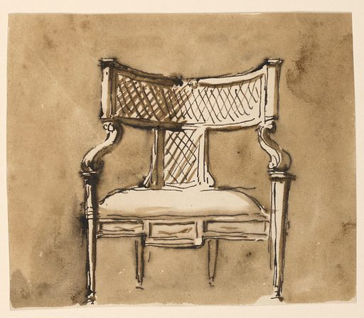 Seen from the front, the upper part of the back is a low curved rectangle, supported in the center by a standing one, both with straw plaiting inside. From the lower corners spring the arm volutes, the front spirals of which are supported by the front legs. The frame of the upholstered seat is shown in the center of the front legs. Its front is divided into three panels, the center one being higher. Narrowly standing back legs. Usual background. Made in: Rome, Italy. Date: 1780s. Record ID: chndm_1938-88-2051.