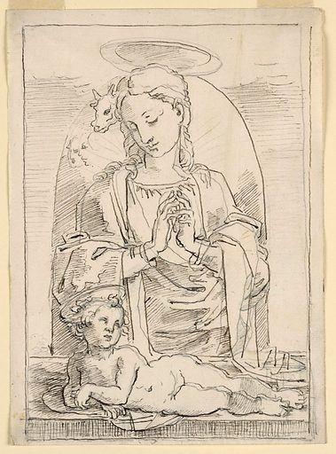 Below, the Child, recumbent and leaning upon his right forearm. The Virgin stands behind in adoration, looking down at him. Behind her is a niche. Over her left shoulder are two heads and one of an ox (?). Framing line. Made in: Italy. Date: 1820s. Record ID: chndm_1938-88-8068.