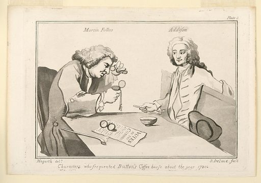 Two men seated at a table. One of them at left is examining closely a watch. Print maker: Samuel Ireland, English, ca. 1744–1800. Made in: England. Date: 1780s. Record ID: chndm_1949-152-71.
