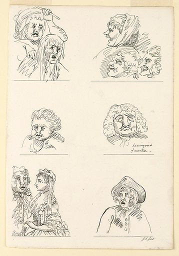 Six drawings of half-length figures in three rows. They represent – from upper left: a woman hitting a man; a woman and two men in profile, facing left smiling; a boy, facing left; a sleeping man, in frontal view; a man in frontal view, a woman in side view; a young man, head turned to left. Print maker: Jane Ireland, British. Made in: England. Date: 1790s. Record ID: chndm_1949-152-89.