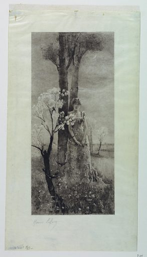 In a landscape setting at dusk, with a crescent moon above a young lady, weraing a flowered dress, stands with her back to a tree, facing the observer. Print maker: Henri-Emile Lefort, French, 1852 – 1916. Made in: France. Date: 1880s. Record ID: chndm_1951-13-20.