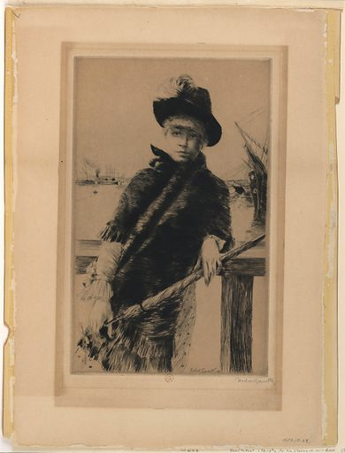 A young lady, wearing a feather-trimmed hat, seen frontally, leaning against a jetty railing, with ships moored in the distance. Print maker: Norbert Goeneutte, French, 1854 – 1894. Made in: France. Date: 1880s. Record ID: chndm_1951-13-24.
