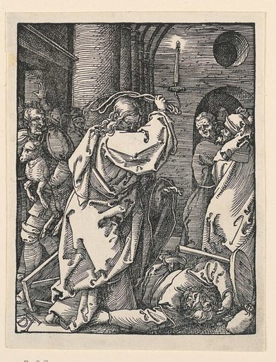 Interior of the temple, with Christ in the foreground, listing his whip about his head. A man lies prone at his feet. Other men in the background, left and right. Monogram of Dürer, lower left. Print maker: Albrecht Dürer, German, 1471–1528. Made in: Germany. Date: 1500s. Record ID: chndm_1951-170-7.