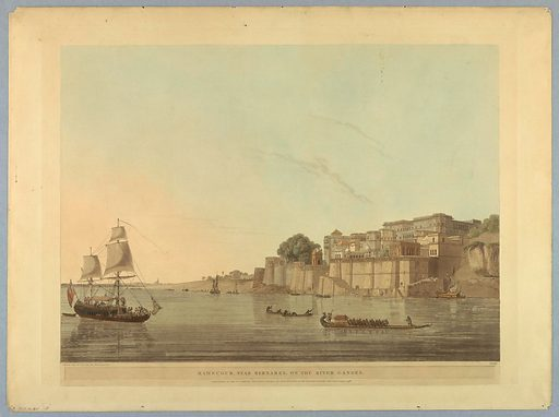 "Ramnugur, Near Bernares, On the River Ganges, from ""Oriental Scenery: Twenty Four Views in Hindoostan"". Print maker: Thomas Daniell, British, 1749 – 1840. Made in: London, England. Date: 1800s. Record ID: chndm_1953-78-45."