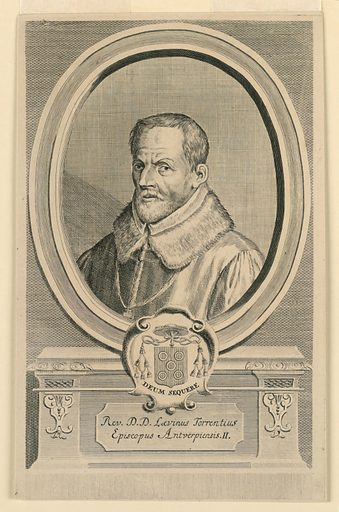 Within an oval frame is the bust portrait of a cleric, wearing a fur collar. Below, his escutcheon and motto, and inscription. Made in: Antwerp, Netherlands. Date: 1690s. Record ID: chndm_1957-148-1.