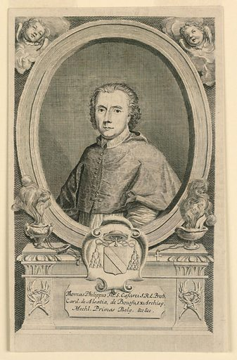 Within an oval frame is the bust portrait of a cleric, wearing a cape, before which hangs his episcopal cross. Below, his escutcheon and motto, and inscription. Made in: Netherlands. Date: 1690s. Record ID: chndm_1957-148-24.