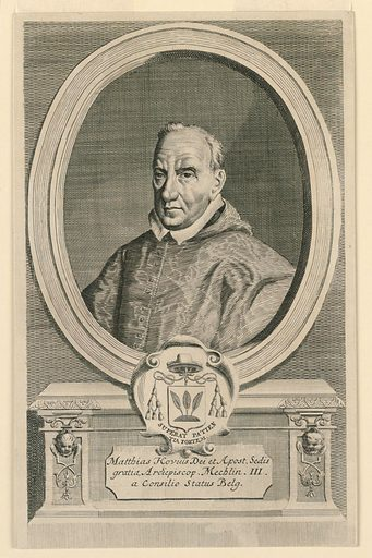 Within an oval frame is the bust portrait of a cleric, wearing a silk robe and white collar. Below, his escutcheon and motto, and inscription. Made in: Netherlands. Date: 1690s. Record ID: chndm_1957-148-3.