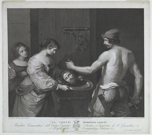 Before a large door, Salome receives the head of John the Baptist on a platter from a half-nude executioner. At left, another woman. Print maker: Francesco Rainaldi, Italian, 1770 – 1805. Made in: Firenze, Italy. Date: 1790s. Record ID: chndm_1957-41-13.