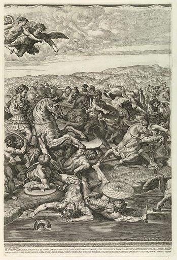 One of four vertical plates, together making a horizontal composition. Raphael's Battle of Constantine, in the Vatican, conceived as a tapestry. Print maker: Pietro Aquila, Italian, d. 1692. Made in: Rome, Italy. Date: 1680s. Record ID: chndm_1957-41-216-b.