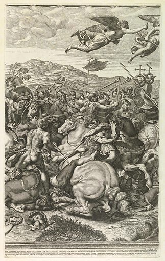 One of four vertical plates, together making a horizontal composition. Raphael's Battle of Constantine, in the Vatican, conceived as a tapestry. Print maker: Pietro Aquila, Italian, d. 1692. Made in: Rome, Italy. Date: 1680s. Record ID: chndm_1957-41-216-c.