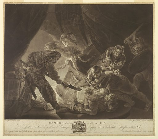 In a dark tent, four soldiers hold Samson down on the ground, while a fifth blinds him with a stiletto. Delilah flees, brandishing Samson's hair. Print maker: Johann Jacobé, Austrian, 1733 – 1797. Made in: Austria, Vienna. Date: 1780s. Record ID: chndm_1957-41-218.