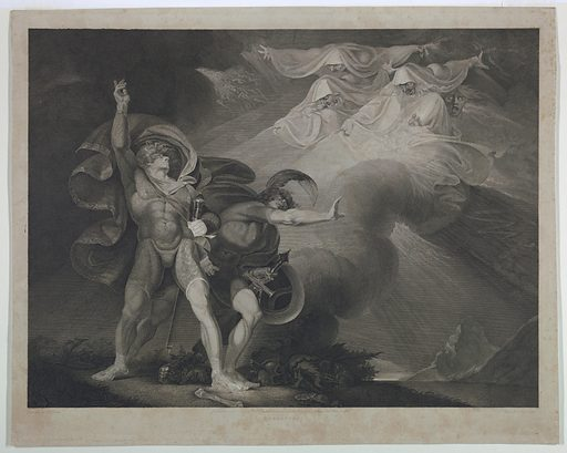 Scene from Shakespear's Macbeth, Act I, Scene 5. The Three Furies appear in the sky to Macbeth and Banquo in an open landscape. Print maker: John Trotter, British, active 1756 – 1792. Made in: London, England. Date: 1790s. Record ID: chndm_1957-41-219.