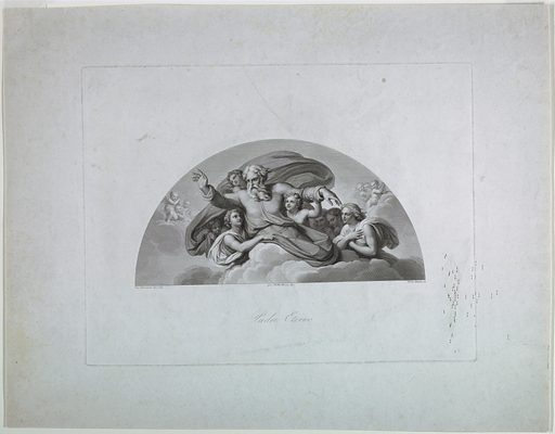 Within a lunette, God the Father is seen supported by two angels, and accompanied by a third. Cherubs in the background. Print maker: Pietro Bettelini, Italian, 1763–1829. Made in: Rome, Italy. Date: 1800s. Record ID: chndm_1957-41-220.