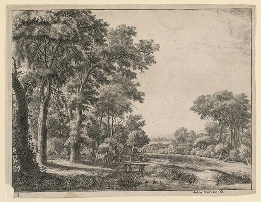 A small wooden bridge crosses a stream in which are two ducks. A woods at left and a broad landscape with distant windmill, right. Print maker: Antoni Waterloo, 1618–1677. Made in: Netherlands. Date: 1650s. Record ID: chndm_1957-41-39.