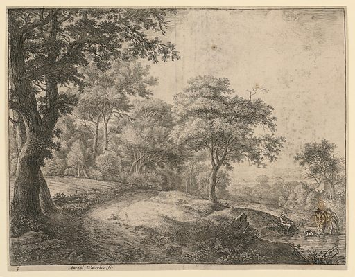 A man and a woman with a dog wade through a stream, while another man replaces his boots on the grassy bank, right foreground. At right, a road borders a woods. Print maker: Antoni Waterloo, 1618–1677. Made in: Netherlands. Date: 1650s. Record ID: chndm_1957-41-41.