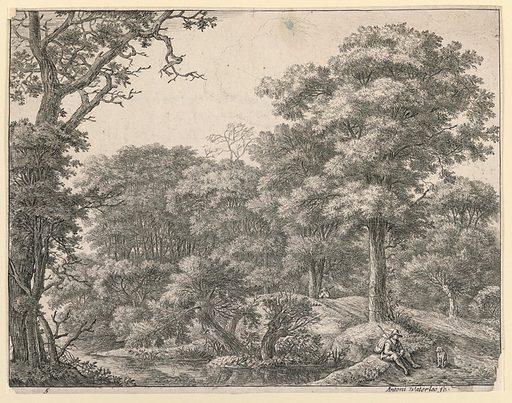 A road runs through a heavily wooded landscape. In the right foreground a traveller with a pack on his back sits on a low embankment, accompanied by his dog, also resting. In the middle distance another traveller walks away. Print maker: Antoni Waterloo, 1618–1677. Made in: Netherlands. Date: 1650s. Record ID: chndm_1957-41-42.